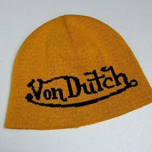 VON DUTCH MUSTARD & BLACK BEANIE